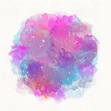 Abstraktes blaues rosa Spritzen, Tropfen, Aquarellhintergrund, Scheidung, Stelle Stockfotos