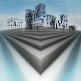 Abstraktes blaues Treppe-Stadtbild-Konzept des Entwurfes vektor abbildung