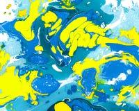 Abstraktes blaues und gelbes Marmorn, ebru Hintergrund lizenzfreie stockbilder