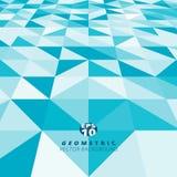 Abstraktes blaues und weißes Farbdreieck quadratisches Muster perspecti Lizenzfreie Stockfotos