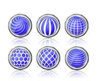 Abstraktes blaues weißes rundes Kugelikonenset Lizenzfreies Stockfoto