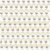 Abstraktes Blumenmuster auf Weiß Burgunder-Blumen, Grünblätter Frühling, Sommer Stockfoto