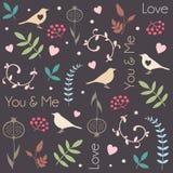 Abstraktes Blumenmuster mit Vögeln, Herzen, Blättern von Bäumen, Blumen und Beeren Romantisches nahtloses Vektormuster für Valent Lizenzfreie Stockbilder