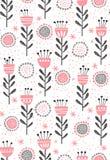 Abstraktes Blumenvektormuster Nettes Rosa und Grey Flowers und Zweige Infantiles Design auf einem weißen Hintergrund vektor abbildung