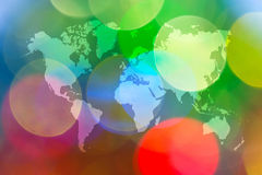 Abstraktes bokeh des Lichtes mit Weltkarte Stockfoto
