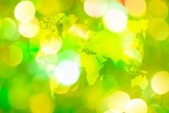 Abstraktes bokeh des Lichtes mit Weltkarte Stockfotos