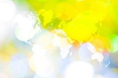 Abstraktes bokeh des Lichtes mit Weltkarte Lizenzfreie Stockbilder