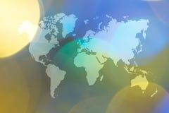 Abstraktes bokeh des Lichtes mit Weltkarte Lizenzfreies Stockfoto