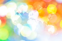 Abstraktes bokeh des Lichtes mit Weltkarte Stockbilder