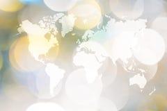 Abstraktes bokeh des Lichtes mit Weltkarte Stockfotografie
