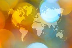 Abstraktes bokeh des Lichtes mit Weltkarte Stockbild