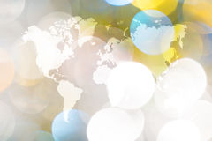 Abstraktes bokeh des Lichtes mit Weltkarte Lizenzfreie Stockfotos