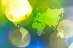 Abstraktes bokeh des Lichtes mit Weltkarte Lizenzfreie Stockfotografie