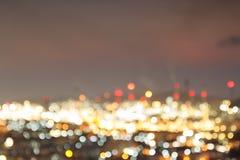 Abstraktes bokeh von Zeit twightlight des petrochemischen Werks Lizenzfreies Stockbild