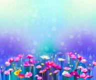 Abstraktes buntes Ölgemälde rot, rosa Kosmosblume vektor abbildung