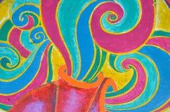 Abstraktes buntes Bild auf der Wand in Mexiko. Lizenzfreie Stockfotos