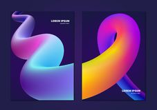abstraktes buntes flüssiges Design 3d Rand der Farbband-, Lorbeer- und Eichenblätter vektor abbildung