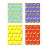 Abstraktes buntes Flieger- oder Bucheinbanddesign stellte mit Bananenmusterhintergrund ein Stockfoto