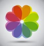 Abstraktes buntes Spektrum-Blumen-Herz Stockfotografie