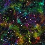 Abstraktes buntes Universum, Regenbogennebelfleck-Nachtsternenklarer Himmel, Mehrfarbenweltraum, nahtloser galaktischer Beschaffe lizenzfreie stockfotos