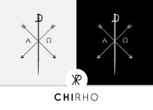 Abstraktes Chi-Rho-Symbolbegrifflichdesign mit Klinge u. Pfeile kombinierten mit Alpha- u. Omega-Zeichen Stockbilder