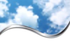 Abstraktes cloudscape Design mit silberner Welle Steigung-Ineinander greifen Stockbilder