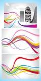 Abstraktes colorul Wellen-Hintergrundset Stockbilder