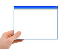 Abstraktes Computerfenster in der Hand Stockbilder