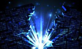 Abstraktes Cyberspace mit einer zerhackten Reihe binären Daten, Explosion mit Strahlen des Lichtes, gesprengtes binär Code, Matri lizenzfreie abbildung
