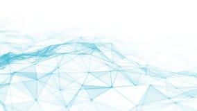 Abstraktes 3d, das futuristische Punkte und Linien überträgt geometrische digitale Verbindungsstruktur des Computers Plexus mit P