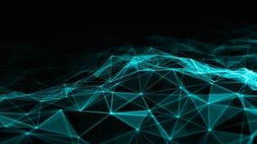 Abstraktes 3d, das futuristische Punkte und Linien überträgt geometrische digitale Verbindungsstruktur des Computers Plexus mit P vektor abbildung