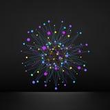 Abstraktes 3d Gestaltungselement, Emblem Verschiedene Lichtpunkte Stockbild
