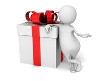 Abstraktes 3d Person With Present Gift Box Lizenzfreies Stockfoto