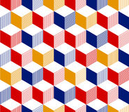Abstraktes 3d streifte geometrisches nahtloses Muster der Würfel in rotem blauem Gelbem und weiß, Vektor Stockfoto