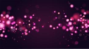 Abstraktes defocused Kreis-bokeh Scheinfunkeln beleuchtet Hintergrund Magischer Weihnachtshintergrund Elegant, glänzend, Rosa stock abbildung