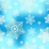 Abstraktes dekoratives blaues und weißes Weihnachtsnahtloses Muster mit Schneeflocken Winterschneeflockenhintergrund für Ihr Desi Stockbilder
