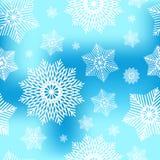 Abstraktes dekoratives blaues und weißes Weihnachtsnahtloses Muster mit Schneeflocken Winterschneeflockenhintergrund für Ihr Desi Lizenzfreie Stockfotos