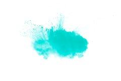 Abstraktes Design der grünen Pulverwolke gegen weißen Hintergrund Lizenzfreies Stockfoto