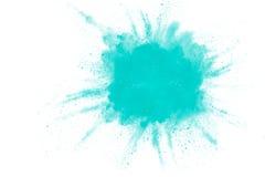 Abstraktes Design der grünen Pulverwolke gegen weißen Hintergrund Lizenzfreies Stockbild