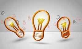 Abstraktes Design von drei Glühlampen für Beschaffenheit a Lizenzfreie Stockfotografie