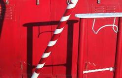 Abstraktes Detail des roten narrowboat Stockfotografie