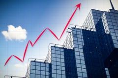 Abstraktes Diagramm mit Wolkenkratzerhintergrund Stockfotos