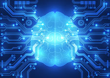 Abstraktes digitales Gehirn des elektrischen Stromkreises, Technologiekonzept Lizenzfreie Stockfotos