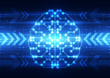 Abstraktes digitales Gehirn des elektrischen Stromkreises, Technologiekonzept Lizenzfreie Stockbilder
