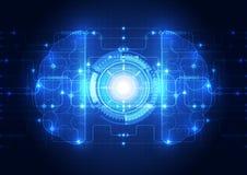 Abstraktes digitales Gehirn des elektrischen Stromkreises, Technologiekonzeptvektor Lizenzfreie Stockfotografie