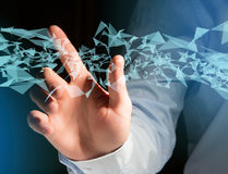 Abstraktes Dreieck angezeigt auf einer futuristischen Schnittstelle mit Linie Lizenzfreies Stockfoto