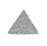 Abstraktes Dreieck oder Pyramide des silbernen Funkelnscheins auf weißem Hintergrund Stockfotografie