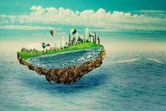 Abstraktes eco und Klimakonzept Eco-Konzept mit fantastischer Insel Lizenzfreie Stockfotos