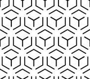 Abstraktes einfaches geometrisches nahtloses Schwarzweiss-Kubikmuster, Vektor Stockfotografie