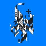 Abstraktes Element auf blauem Hintergrund lizenzfreie abbildung